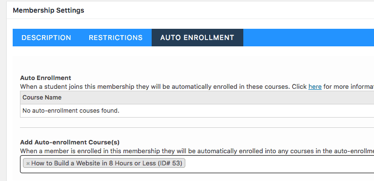 Screengrab of LifterLMS Membership Screen to Autoenroll Students into a Course