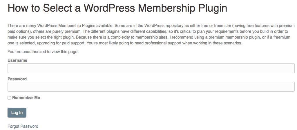 Screengrab of a membership controlled post allowing a free preview of the content.