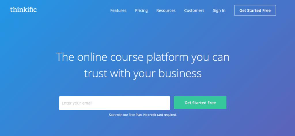 Thinkific Online Course Platform Homepage