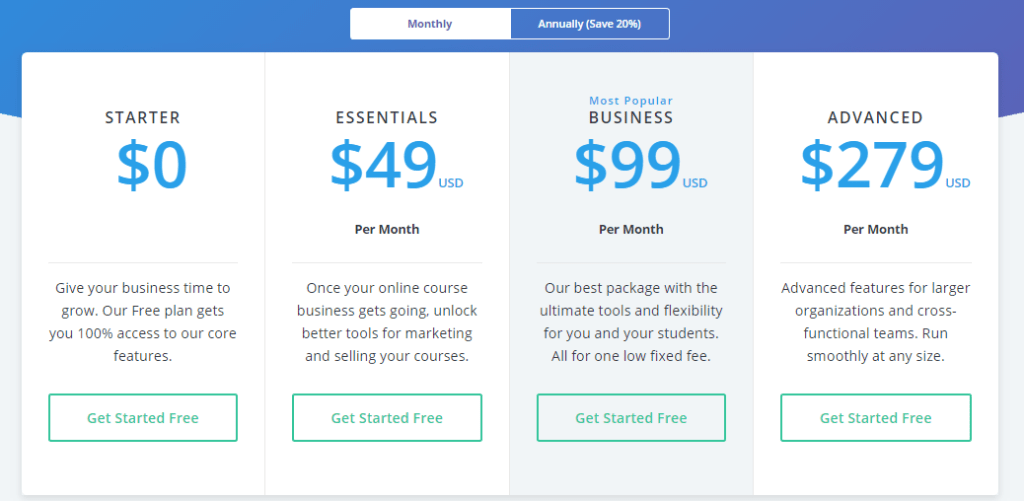 Thinkific Pricing Page