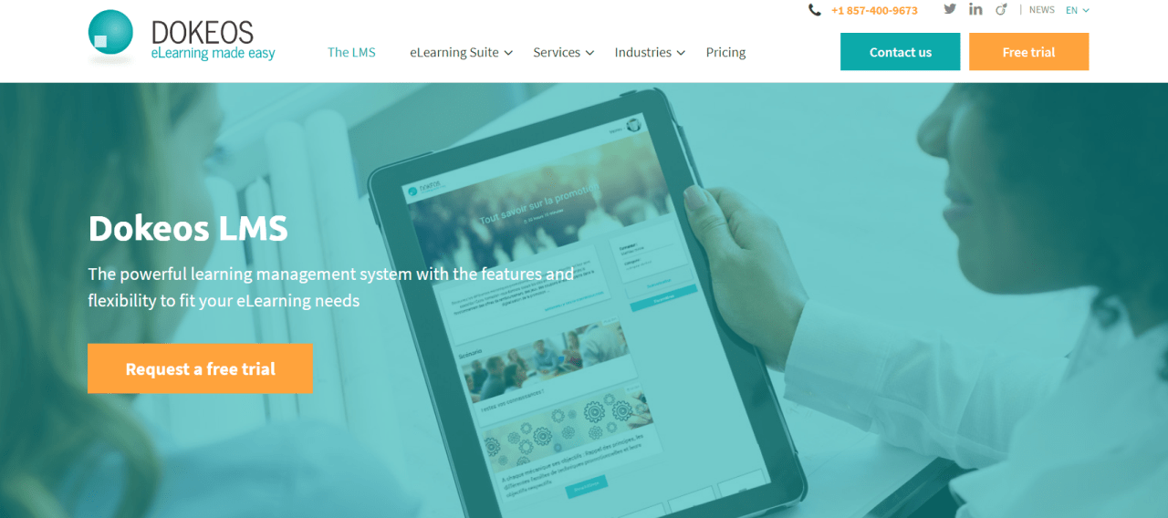 The Dokeos LMS offers a complete elearning suit