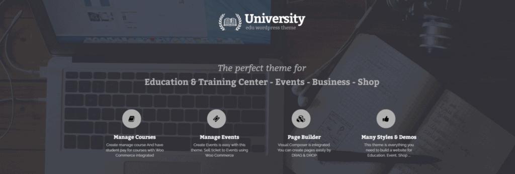 University is a popular WordPress eLearning theme