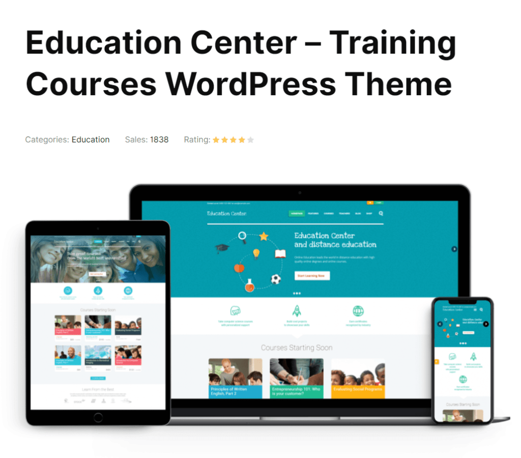 Education Center is an elegant and modern learning WordPress