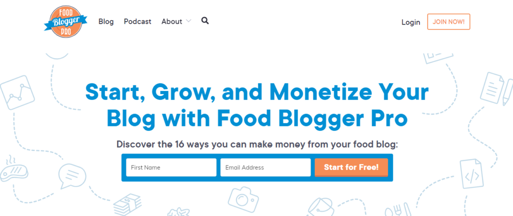 Food Blogger Pro is an online blog creation service