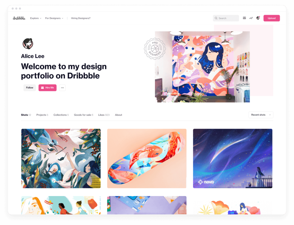 Designed with designers and visual artists in mind, Dribbble Pro offers all the functionality you need to build a successful career in design
